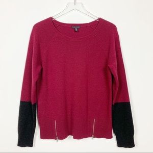 Eileen Fisher | Red / Black Color Block Sweater